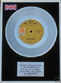 "THE CARPENTERS -7"" Platinum Disc- WE'VE ONLY JUST BEGUN"